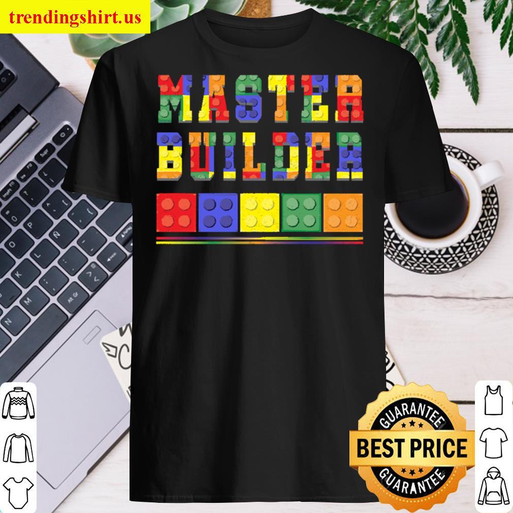 Cute Master Block Builder Bricks Men T-shirt